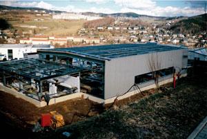 1999-Neubau der Produktionshalle in Schwarzenberg